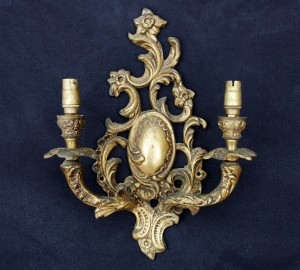 Six Antique Brass Wall Sconces